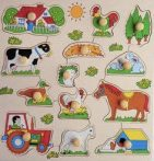 Fa ki-berakó fa fogantyús puzzle  3-féle, járműves, állatos