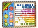 Fa golyós számoló, 10 soros, színes, számkorongokkal