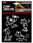 Autós matrica 4 db állat - kutya, macska