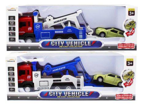 Játék autószállító kamion fémből, hang és fény effektusokkal 2 féle