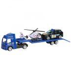 Játék autószállító kamion fémből járművekkel, 4 féle rendőrségi, katonai, tűzoltósági, építkezés