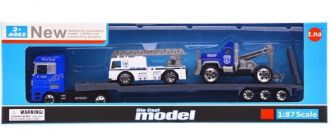 Fém autószállító kamion + 2 db autó, 3 féle