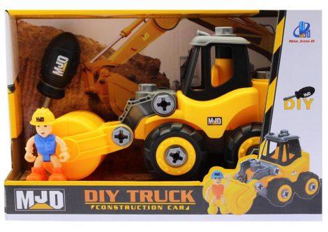 Diy Truck Szerelős munkagép, úthenger figurával, csavarhúzóval