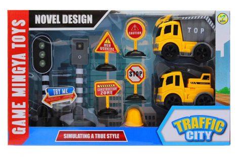 Játék közlekedési készlet, munkagépek, közlekedési táblák, lámpa, trafipax