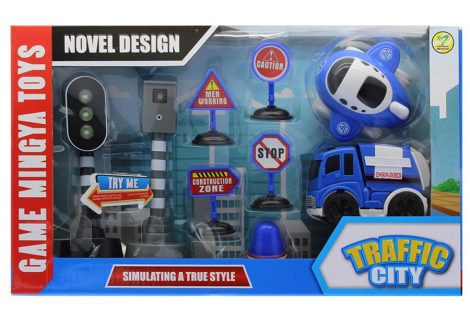 Játék rendőrségi közlekedési készlet, közlekedési táblák, lámpa, trafipax