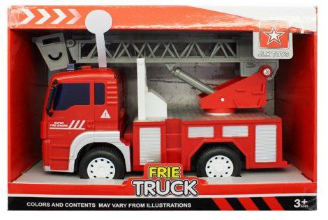 Emelőkosaras játék tűzoltóautó elemes