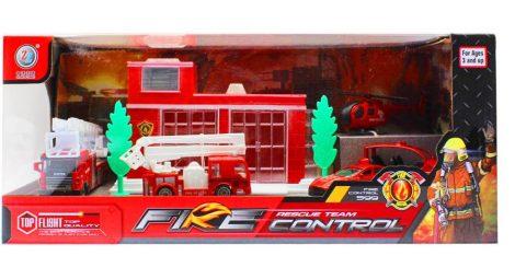 Játék tűzoltó állomás 5 db fém járművel