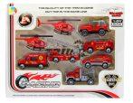 Játék fém tűzoltó autó készlet 8 db járművel