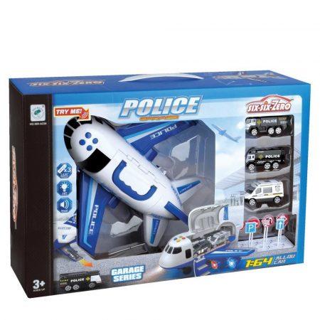 Játék rendőrségi repülőgép kisautókkal, funkciós