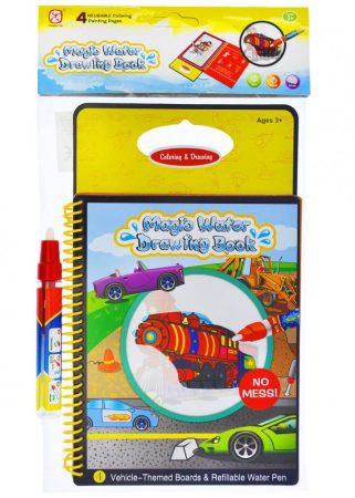 Vízzel rajzoló könyv, járműves