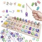 Montessori Fa fejlesztő játék 4in1 abakusz, horgász, számok, formák