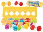 Montessori szín és forma felismerő játék tojásban - Gyümölcs és zöldség