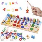 Montessori Fa fejlesztő játék 3in1 abakusz, horgász, számok és formák