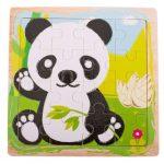 Pandás fa puzzle 12 db-os kirakós játék 15x15cm