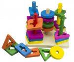 5 torony - Montessori készségfejlesztő fa játék
