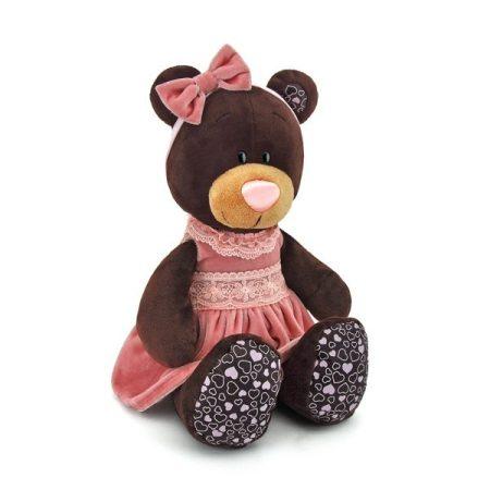 Plüss Milk a maci ülő pink bársony ruhában 25cm Orange Toys