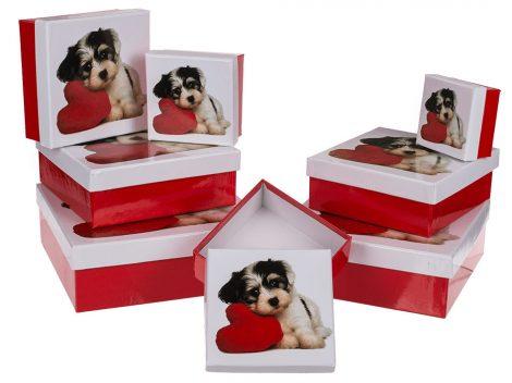 Kutyás ajándékdoboz piros-fehér