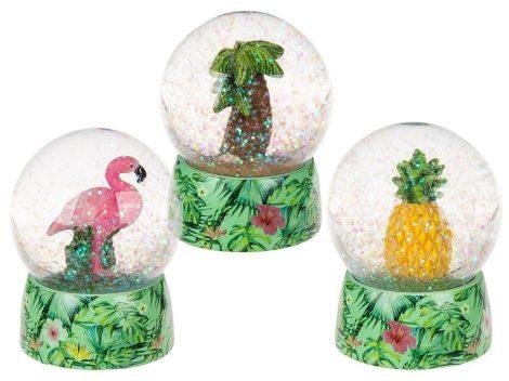 Hógömb, ananász, flamingó, pálmafa 8,5cm