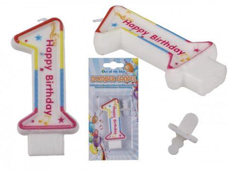 Számgyertya Happy Birthday felirattal 1-es szám