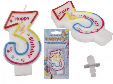 Számgyertya Happy Birthday felirattal 3-as szám