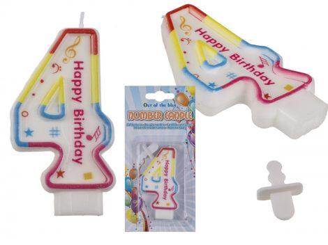 Számgyertya Happy Birthday felirattal 4-es szám