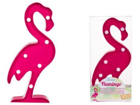 Flamingó világító dísz, 7LED, 30x14cm
