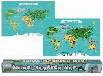 Animal Scratch Map - Térkép poszter a világ állataival kaparós