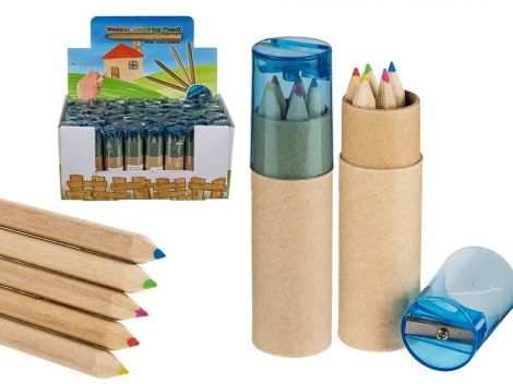 Mini színes ceruza 5 db-os, hegyezővel