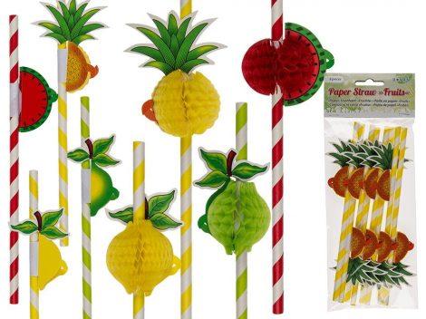 Party szívószál, gyümölcsös 8 db/ csomag