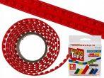 Rugalmas piros építõkocka szalag, 125cm Legohoz