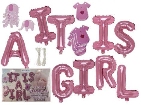Újszülött köszöntő party készlet, lányos rózsaszín