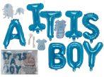 Újszülött köszöntõ party készlet, fiús kék