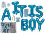 Újszülött köszöntő party készlet, fiús kék