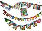 Happy Birthday színes születésnapi zászlófüzér