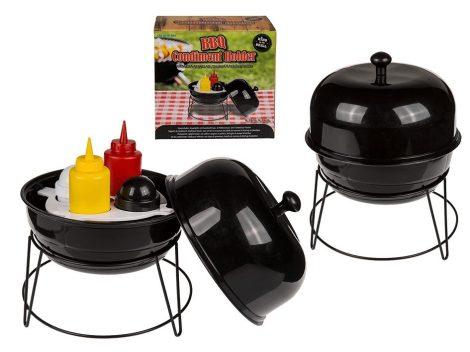 Fűszertartó grillezéshez sótartóval borsszóróval, mustár és ketchup palackkal