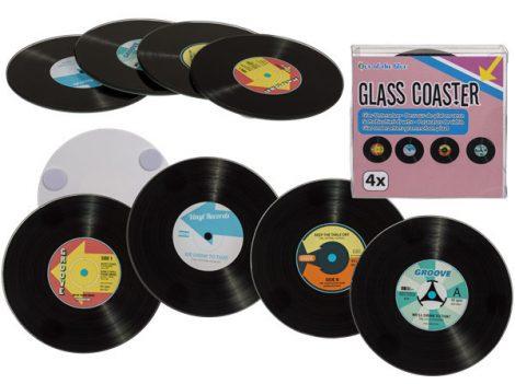 Poháralátét Bakelit lemez formájú 4 db-os üveg