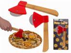 Pizza vágó balta alakú kb. 18 cm, bambusz és rozsdamentes acél