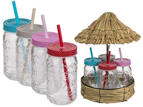 470 ml Party poharak fém fedővel, szívószállal szalma ház tetős kerek tálcán