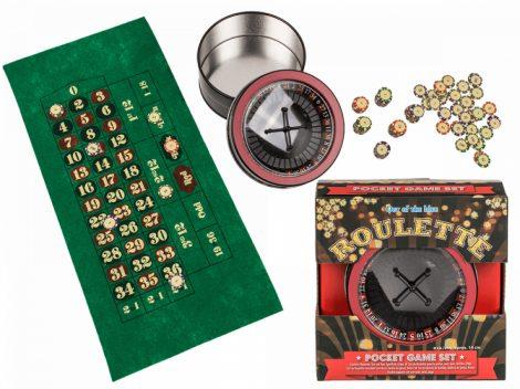 Roulette utazó játék fémdobozban
