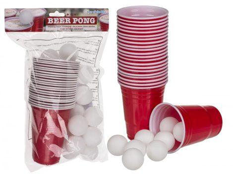 Partyjáték Beer Pong pohár és labda sörpongozáshoz