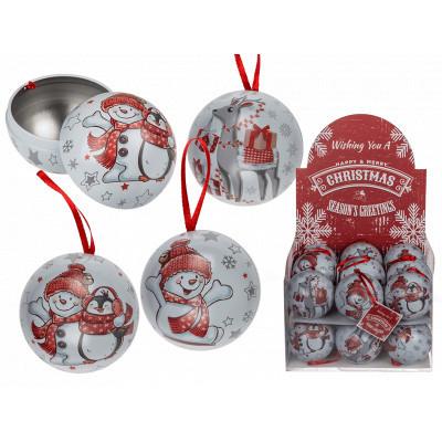 Karácsonyi fém gömb ajándék tároló