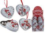Karácsonyi fém szív ajándék tároló