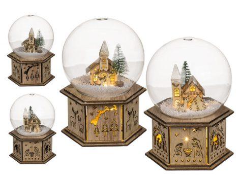 Karácsonyi dísz üveggömb téli faluval ledes