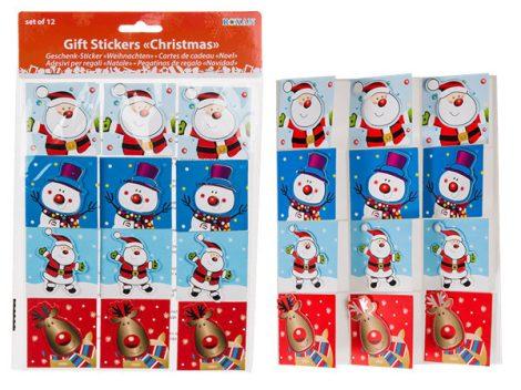 Karácsonyi ajándékkísérő etikett 12db-os