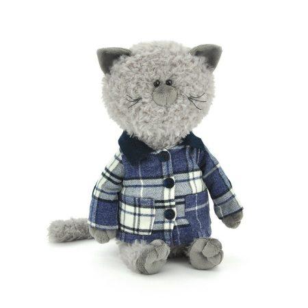 Plüss macska Buddy jacket-ben 30cm