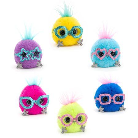 Whozie plüss csillogó szemű madárka vicces szemüveggel Orange Toys