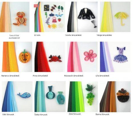 Quilling színes papír csíkok Multi Color 100 db 10mm