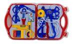 Doktoros játék felszerelés bőröndben piros