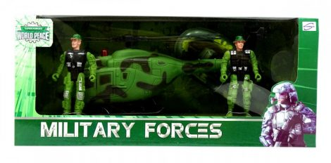 Játék katonasági helikopter figurákkal