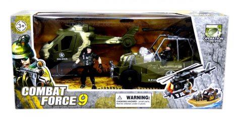 Játék katonai készlet helikopter, autó, figura